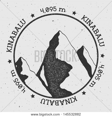 Kinabalu In Crocker Range, Malaysia Outdoor Adventure Logo. Round Stamp Vector Insignia. Climbing, T