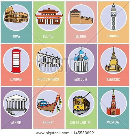 Set icons or cards.- Famous attractions of the world. Flat design. Vector illustration