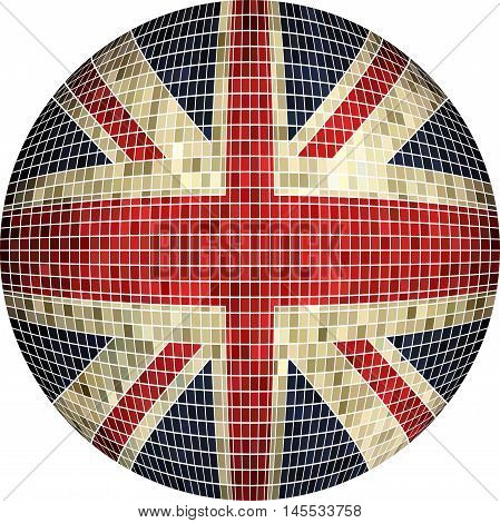 Ball with Great Britain flag - Illustration, Abstract Grunge Mosaic flag of UK