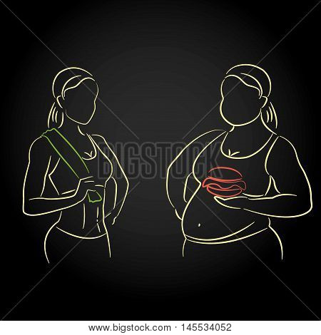 Fat and thin silhouettes of female figures. Thin woman after fitness fat with a hamburger. Vector illustration on black background