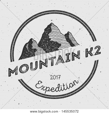 K2 In Karakoram, Pakistan Outdoor Adventure Logo. Round Expedition Vector Insignia. Climbing, Trekki