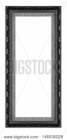 Antique Picture Black Frame Isolated On White Background, Clipping Path