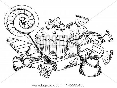 Vector black and white food coloring book page for children and adult sweets collection: lollipop cupcake chocolate candy.