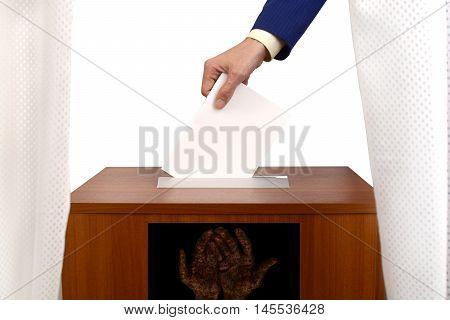 fraudulent voting at the polling station fake ballot box for bulletins