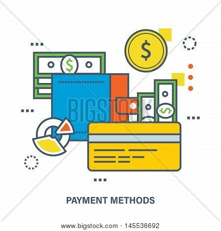 Concept of payment methods. Color Line icons. Flat Vector illustration