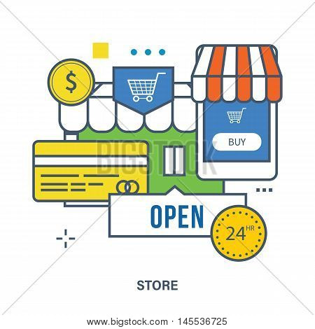 Concept of store and payment methods - the mobile phone application store building in the background. Color Line icons. Flat Vector illustration