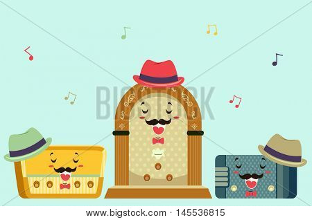 Mascot Illustration Featuring Vintage Radios Singing a Song