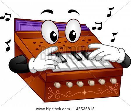 Mascot Illustration of a Harmonium Playing Notes