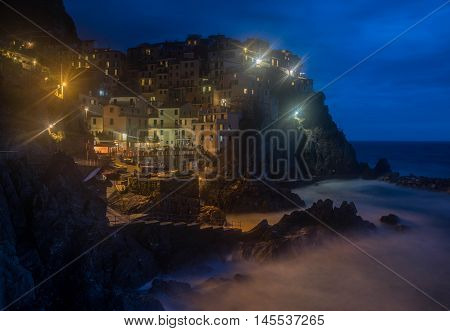 Romantic View Of Manarola Village