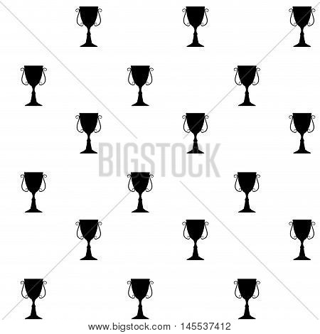 Seamless pattern with cup. Victory and achievement sport goblet monochrome background. Vector illustration