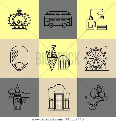 Main London landmarks. Fish and chips, london bus, tea and others. Poster design or postcard illustration.