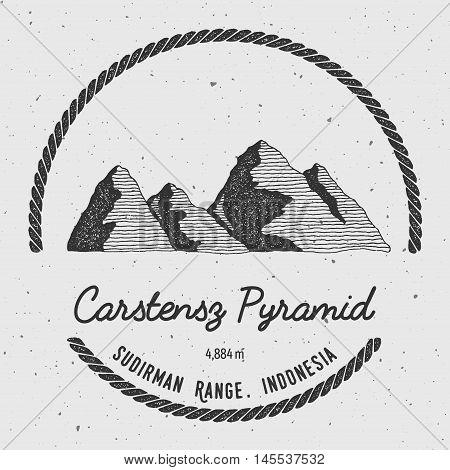 Carstensz Pyramid In Sudirman Range, Indonesia Outdoor Adventure Logo. Round Trekking Vector Insigni