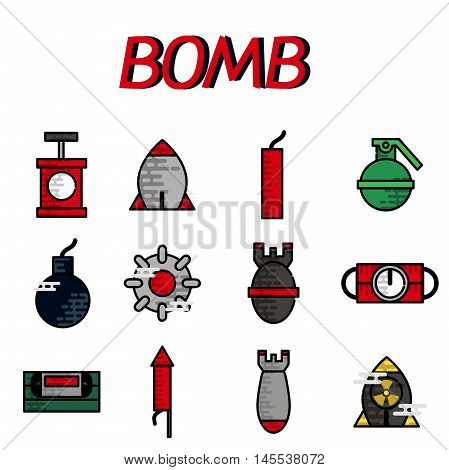 Bomb flat icon set. Vector illustration, EPS 10