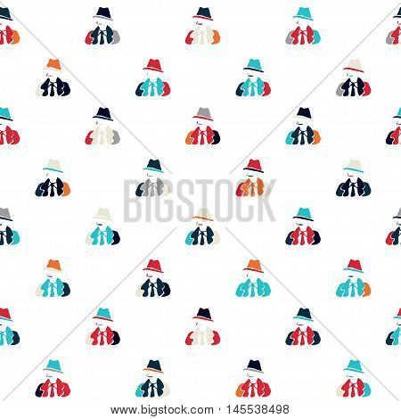 Vector hand drawn cartoon seamless pattern with detective. Crime noir theme. Colored spy pattern for paper textile polygraphy game web design
