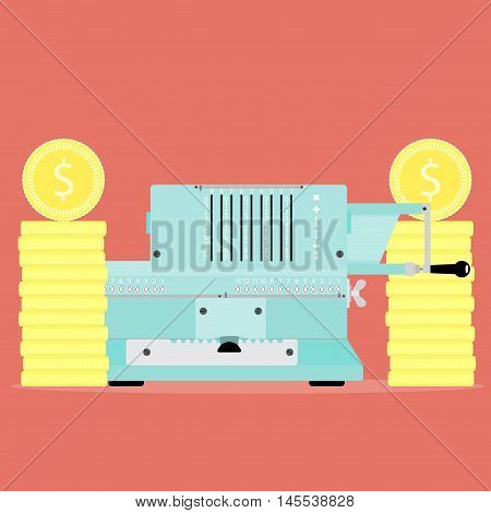 Counting capital with old calculator. Financial profit and income investment economic vector illustration