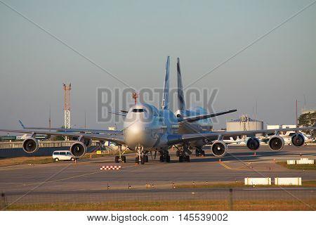 Kiev Region Ukraine - October 2 2011: El Al El Al Boeing 747-400 planes are parked on the apron on sunrise