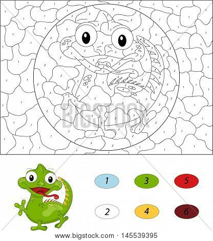 Cartoon Iguana. Color By Number Educational Game For Kids