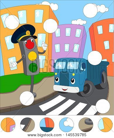 Cartoon Blue Lorry And Traffic Lights On A Pedestrian Crossing. Complete The Puzzle And Find The Mis