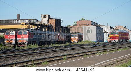 RYBINSK, RUSSIA - JULY 10, 2016: Locomotive depot of the station Rybinsk Northern Railway, sunny summer day