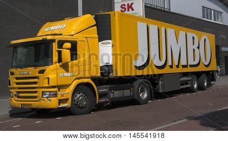 Jumbo Truck Transporting Food To A Supermarket
