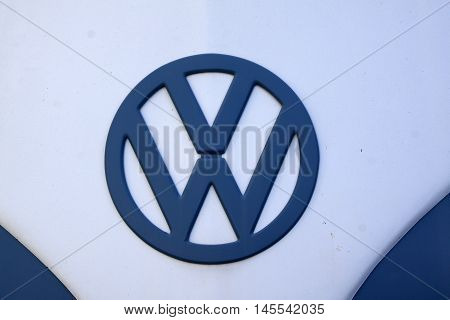 Logo Vw On A Vintage Volkswagen T 1 Transporter
