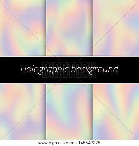 Hologram background. Holographic art. Rainbow backdrop. Multicolor design. Polychromatic illustration. Spectrum decoration. Bright abstract gradient. Vector.
