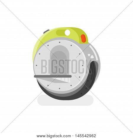 Vector flat style illustration of battery-powered electric unicycle scooter on white background. Modern ecological transport.