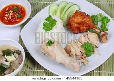 Streamed oily rice and streamed chicken as