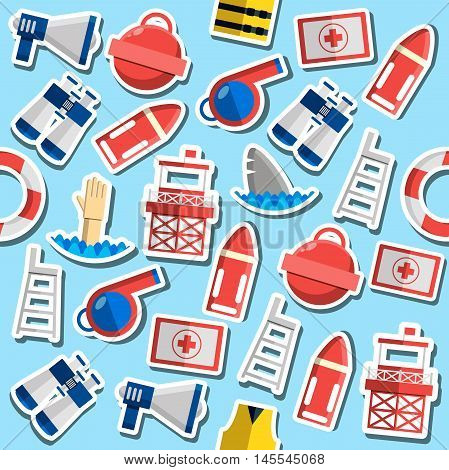 Pattern of vintage lifeguard colored elements. Vector illustration, EPS 10