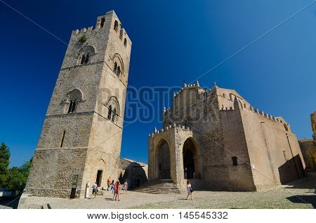 Cathedral of Erice, Santa Maria Assunta, Chiesa Madre, Matrice or main church in Erice, province of Trapani. Sicily, Italy.