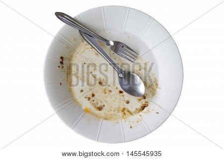 Rice dishes after eating isolated white background.