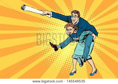 Business people man riding on woman, attack, pop art retro comic drawing illustration. Gender inequality. Career men and women