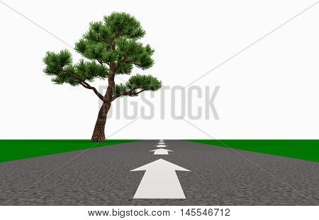 arrow on the road indicates the direction of the horizon past the lone tree 3d illustration