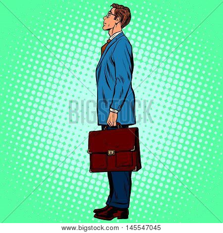 Businessman standing sideways pop art retro comic drawing illustration