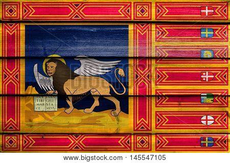 Flag Of Veneto Region, Italy, Painted On Old Wood Plank Background