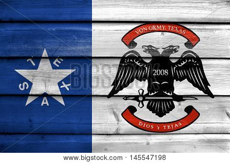 Flag Of Von Ormy, Texas, Usa, Painted On Old Wood Plank Background