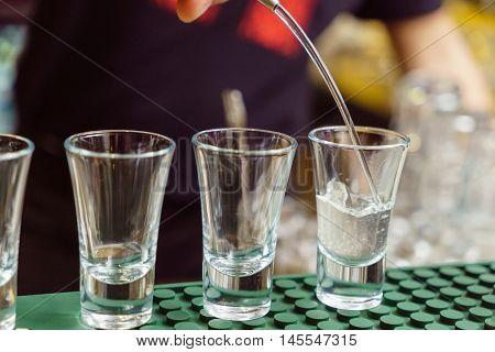 Barman at work,