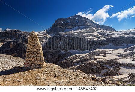 Piz Boe peak in Sella group from Sass Pordoi Italian Dolomites