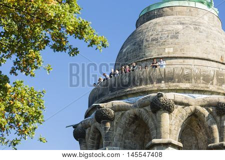 Tourists On The Hermannsdenkmal In Detmold, Germany, Editorial