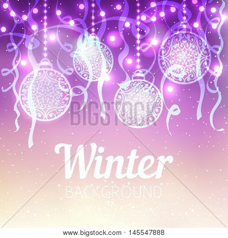 Vector winter evening background. Christmas laced balls with lights bokeh and serpentine