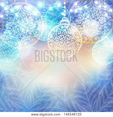 Vector winter frozen background with christmas balls and lights bokeh. Magic icy pattern on glass window with fir trees