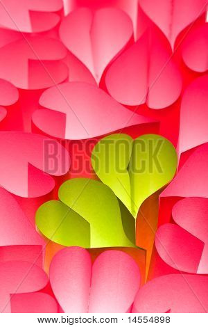 Paper Hearts Background - Pink And Green