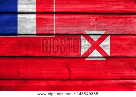 Flag Of Wallis And Futuna, Painted On Old Wood Plank Background