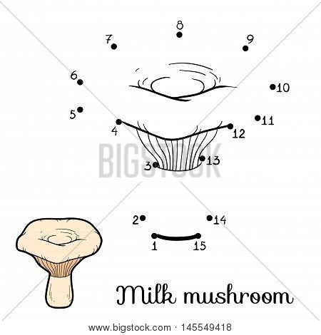 Numbers Game For Children. Edible Mushrooms, Milk Mushroom