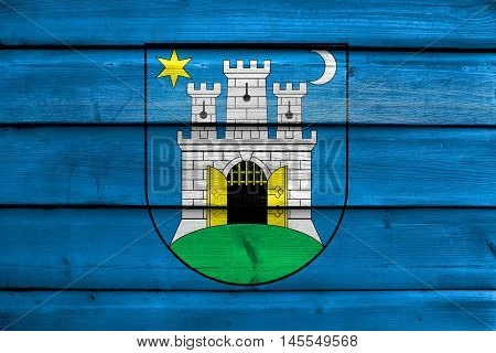 Flag Of Zagreb, Croatia, Painted On Old Wood Plank Background