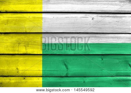 Flag Of Zielona Gora, Poland, Painted On Old Wood Plank Background