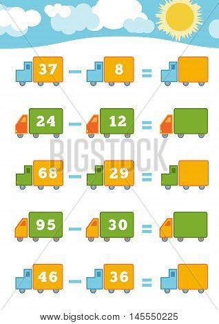 Counting Game For Preschool Children. Subtraction Worksheets