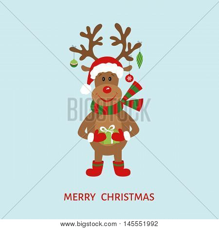 Christmas cute reindeer in Santa Claus hat. Greeting card template. Flat design vector illustration.