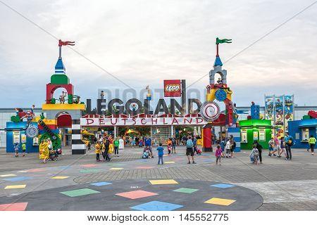 GUNZBURG GERMANY - AUG 18 2016: Entrance at the Legoland Deutschland theme park in Gunzburg Germany