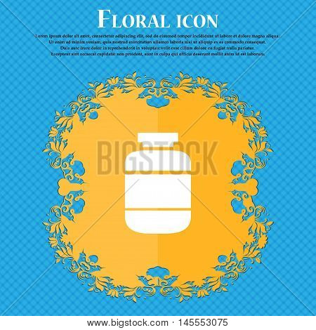 Medication Icon Icon. Floral Flat Design On A Blue Abstract Background With Place For Your Text. Vec